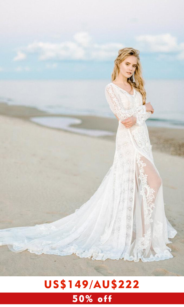 Chic Long Sleeve V-neck Lace A-line Wedding Dress