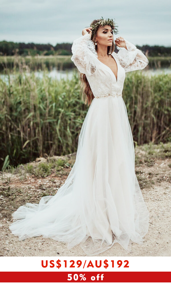 Front Slit Long Sleeve Lace Tulle Wedding Dress