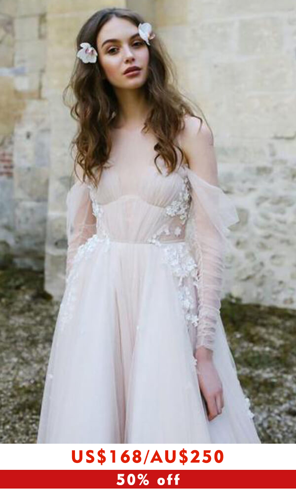 Chic Cold-shoulder Long Sleeve Tulle Wedding Dress