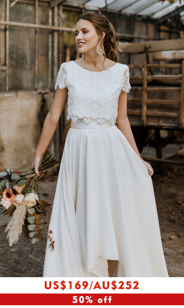 Short Sleeve Lace High Low Two Piece Wedding Dress