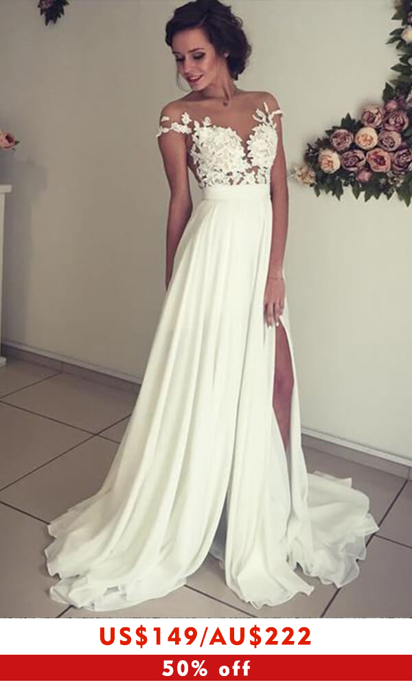 Awesome Front Slit Appliques Chiffon Wedding Dress