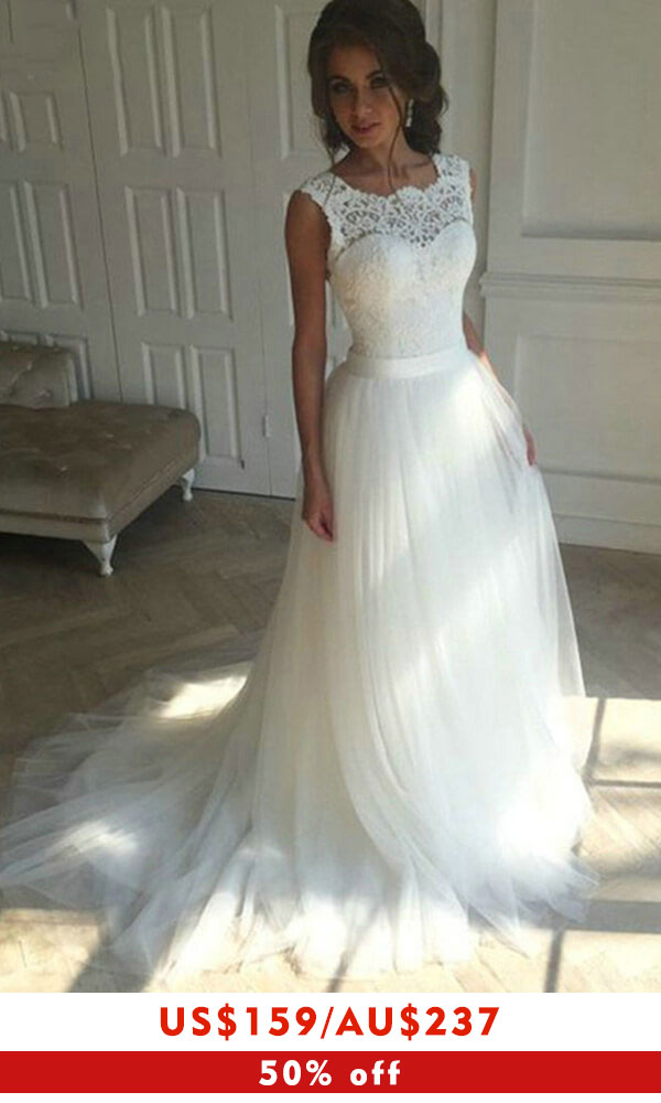 Chic Illusion Lace Tulle A-line Wedding Dress