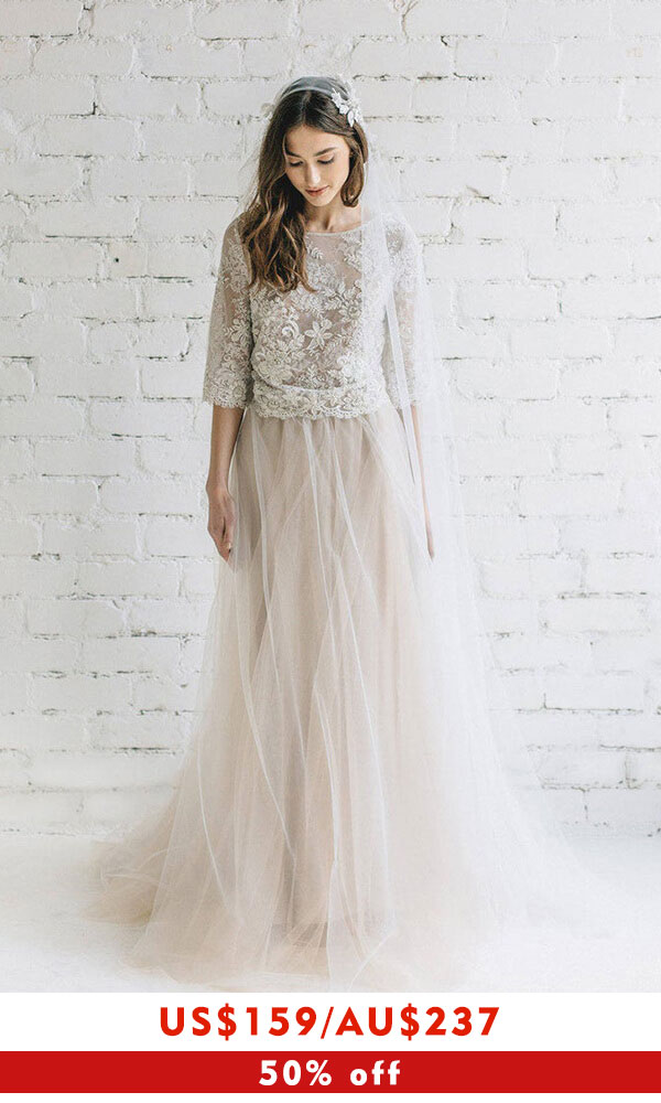 Eye-catching Lace Tulle Two Piece Wedding Dress
