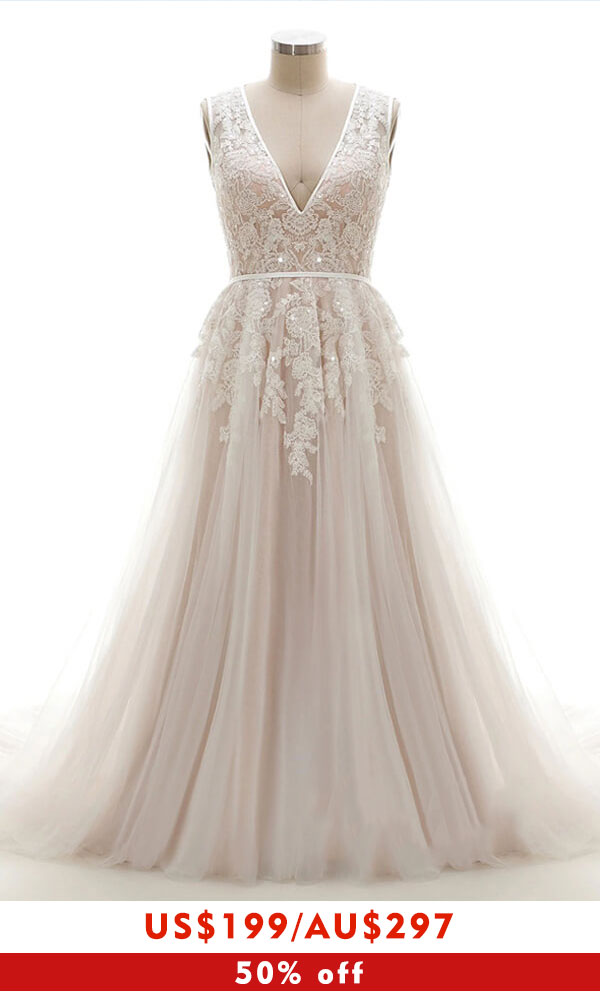 Amazing V-neck Appliques Tulle A-line Wedding Dress
