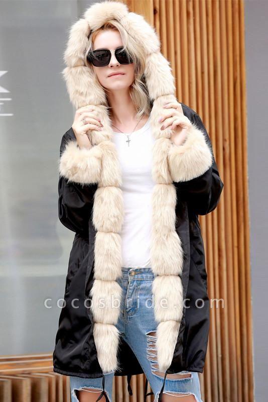 Winter Overcoat Hooded Parka Coat Faux Fur Coats