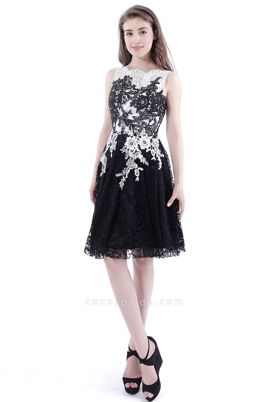 DAHLIA | Short Sheath Sleeveless Black Lace Prom Dresses