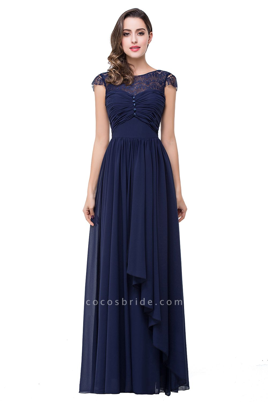 ELLEN   A-line Short Sleeves Chiffon Bridesmaid Dresses with Ribbon Bow
