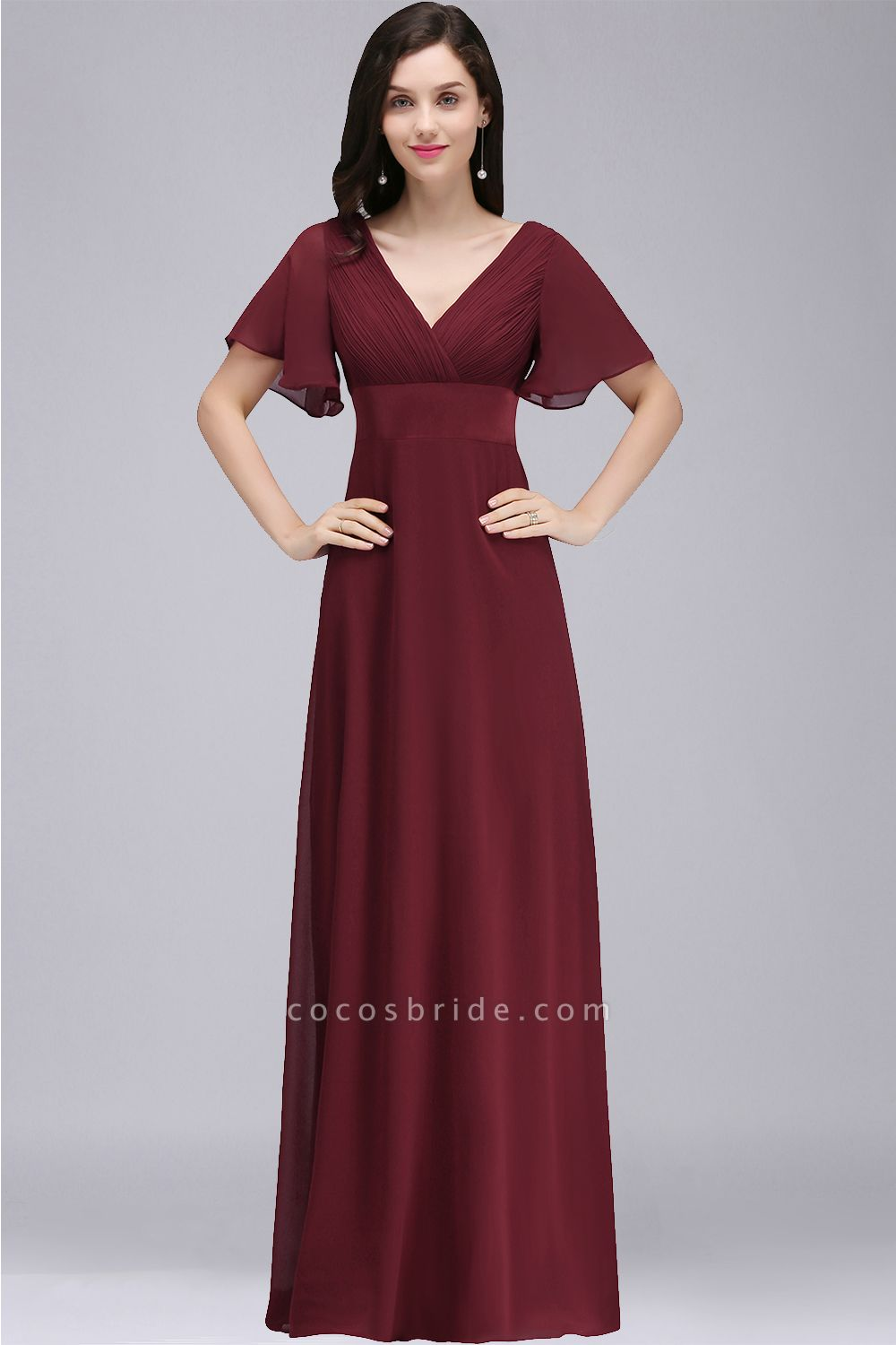 A-line V-neck Floor Length Chiffon Bridesmaid Dress