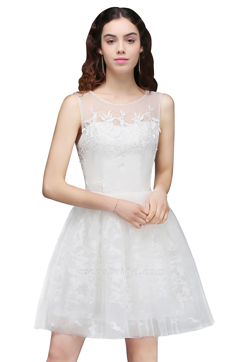 Affordable Jewel Tulle A-line Homecoming Dress