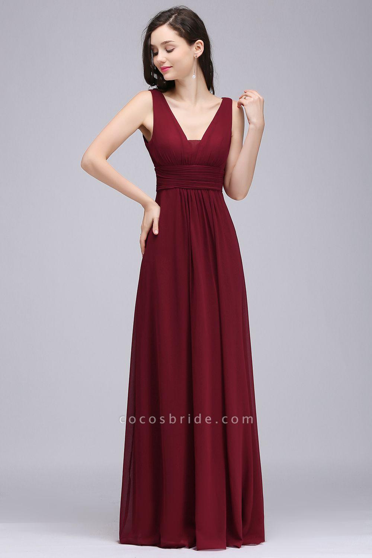 V-neck Chiffon Column Floor Length Bridesmaid Dress