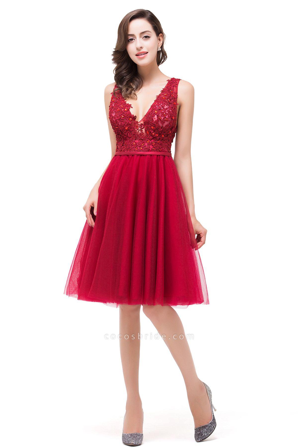 EVIE   A-Line Deep-V Neck Sleeveless Short Prom Dresses with Appliques