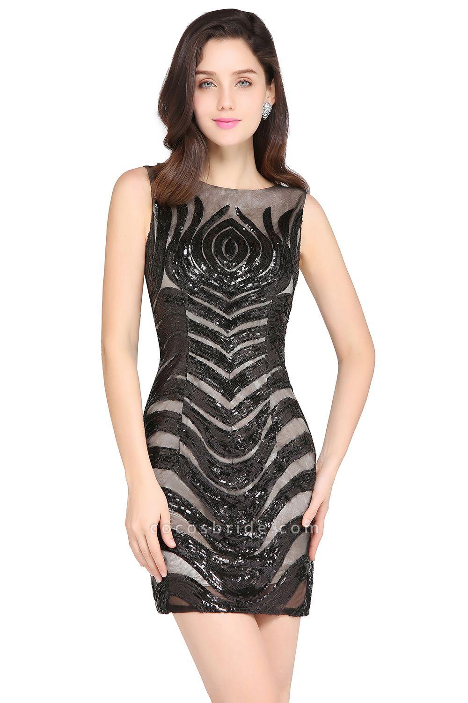 Attractive Scoop Sequined Column Homecoming Dress