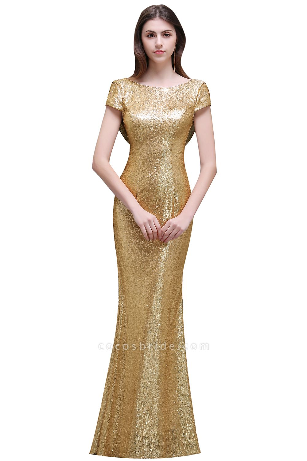 Women Sparkly Rose Gold Long Sequins Bridesmaid Dresses Prom/Evening Gowns
