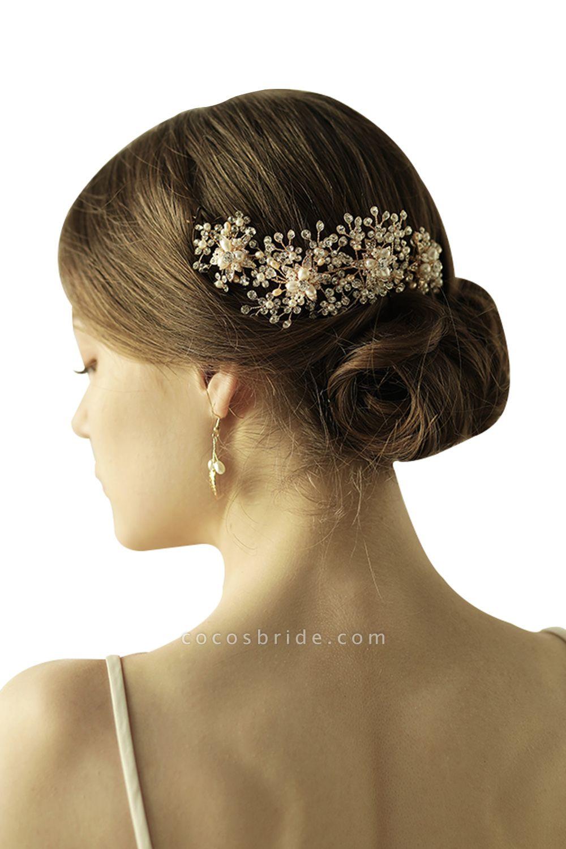 Luxury glamourous Alloy&Rhinestone Special Occasion&Wedding Headbands Headpiece with Imitation Pearls