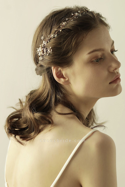 Beautiful Alloy&Rhinestone Special Occasion Headbands Headpiece with Imitation Pearls