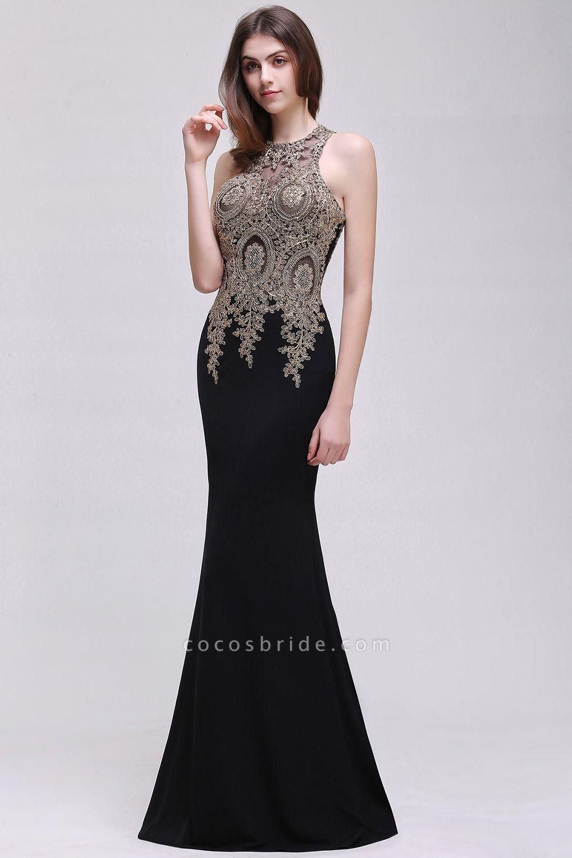 BM0121 Straps Black Mermaid Appliques Sleeveless Bridesmaid Dresses