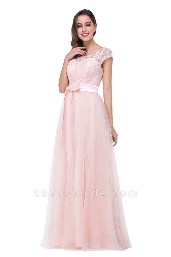 Off The Shoulder Cap Sleeves Chiffon A-line Bridesmaid Dress