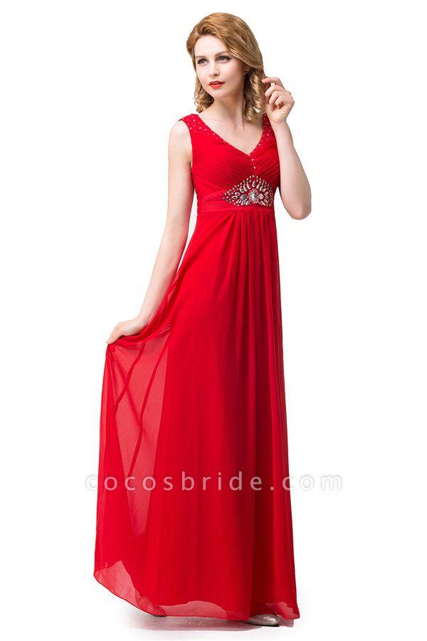 V-neck Chiffon A-line Knee Length Bridesmaid Dress