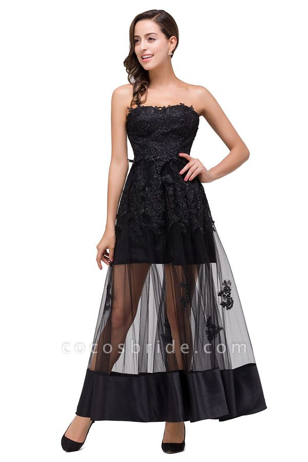 Fascinating Strapless Tulle A-line Evening Dress