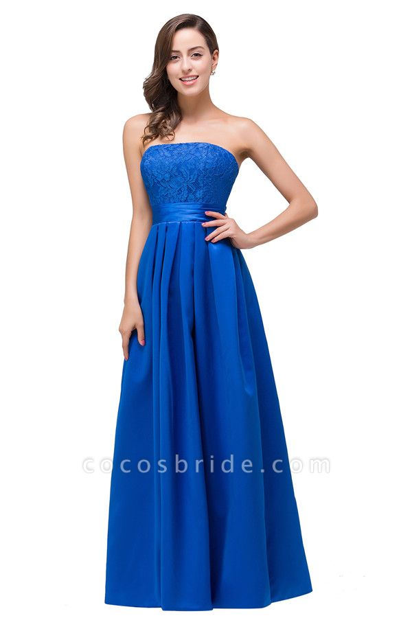 Strapless Taffeta A-line Floor Length Bridesmaid Dress