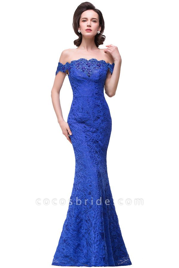 Off The Shoulder Cap Sleeves Lace Mermaid Bridesmaid Dress