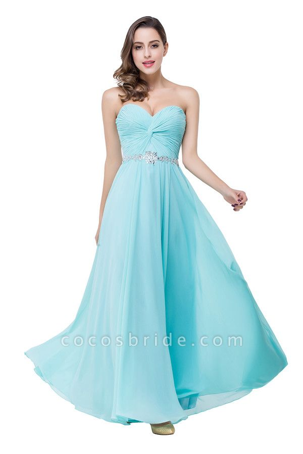 Strapless Chiffon A-line Floor Length Bridesmaid Dress