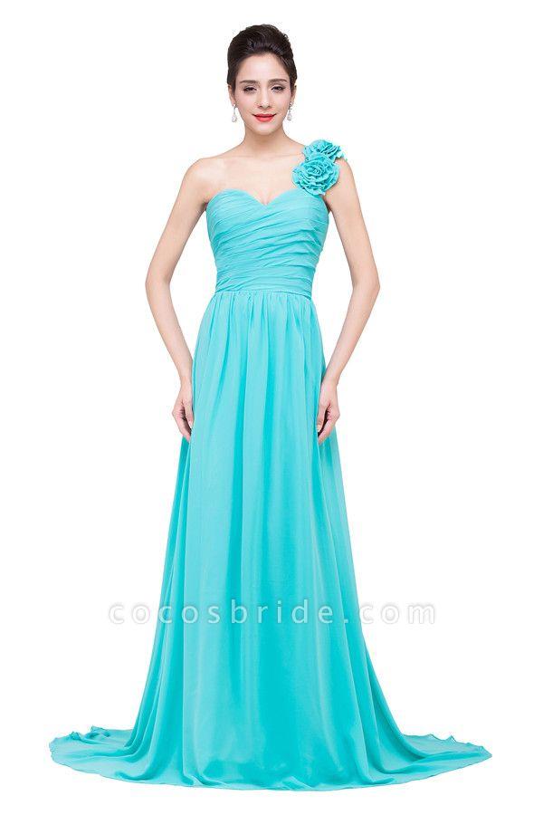 One Shoulder Chiffon A-line Floor Length Bridesmaid Dress