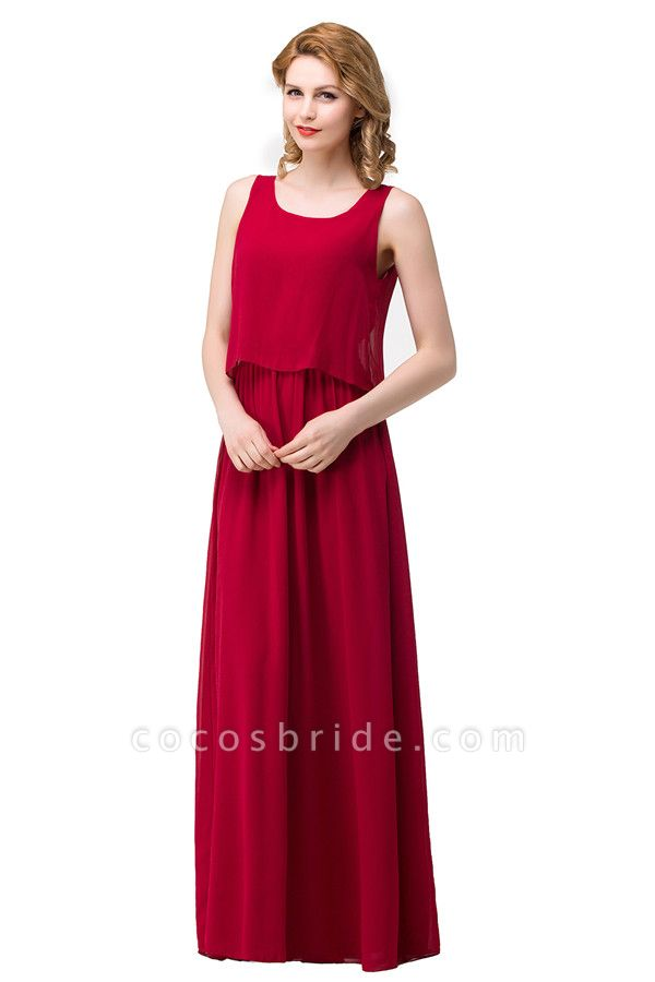 Square Chiffon A-line Floor Length Bridesmaid Dress