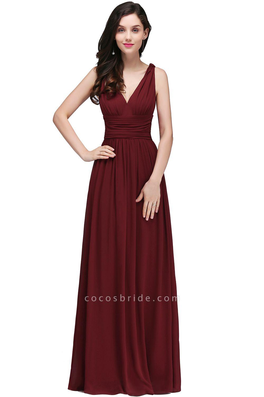 Elegant A-Line Chiffon V-Neck Sleeveless Ruffles Floor-Length Bridesmaid Dresses