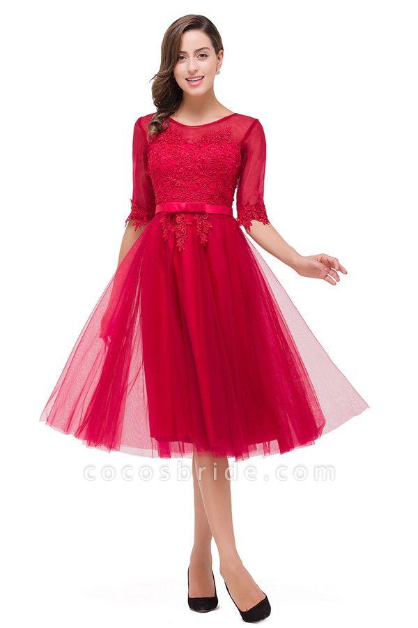 Half Sleeves Lace A-line Tea Length Bridesmaid Dress