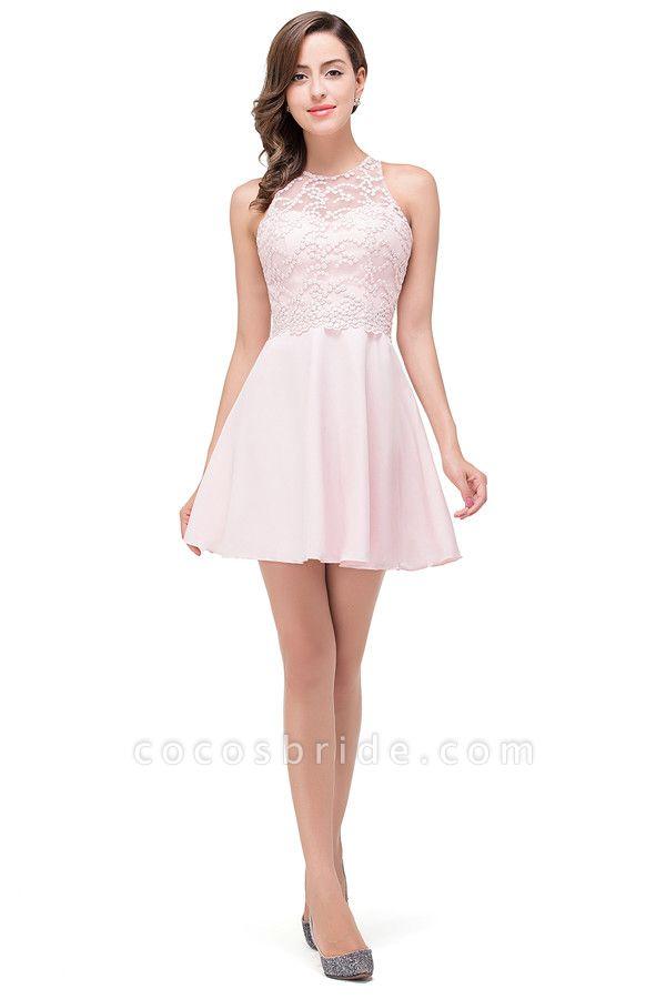 Short Sleeves Chiffon A-line Mini Bridesmaid Dress