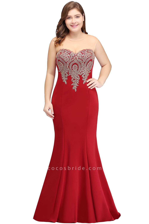 INGRID   Mermaid Crew Illusion Plus size Long Sleeveless Burgundy Formal Dresses with Appliques