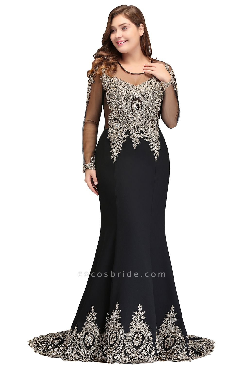 ISABELLE | Mermaid Crew Floor Length Plus size Long Sleeves Evening Dresses with Appliques