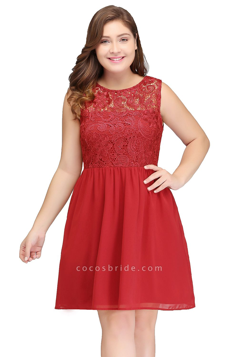 HENLEY | A-Line Crew Short Sleeveless Lace Chiffon Red Cocktail Dresses