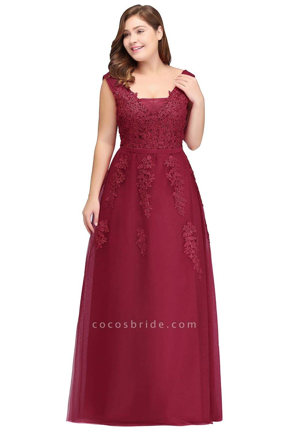IRIS | A-Line Bateau Long Plus size Sleeveless Evening Dresses with Appliques