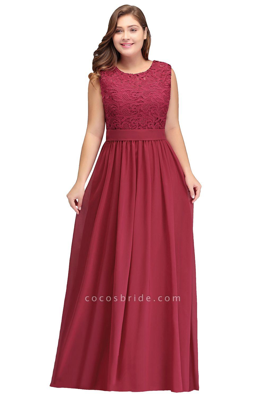 ITZEL | A-Line Crew Long Plus size Sleeveless Lace Chiffon Evening Dresses with Sash