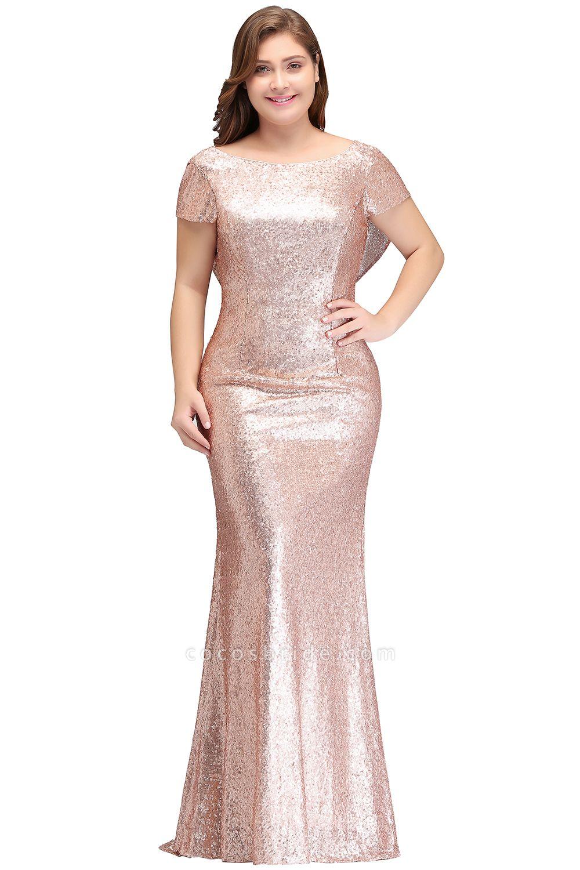 ISABEL | Mermaid Bateau Short sleeves Plus size Floor Length Sequins Formal Dresses