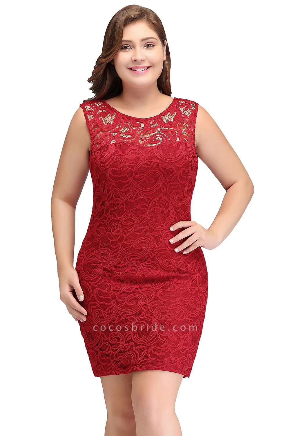 JAMIE | Mermaid Scoop Plus size Short Sleeveless Lace Cocktail Dresses