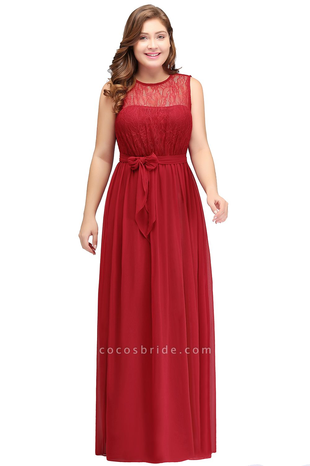 JAELYN | A-Line Crew Long Sleeveless Plus size Chiffon Evening Dresses with Ruffles Bow
