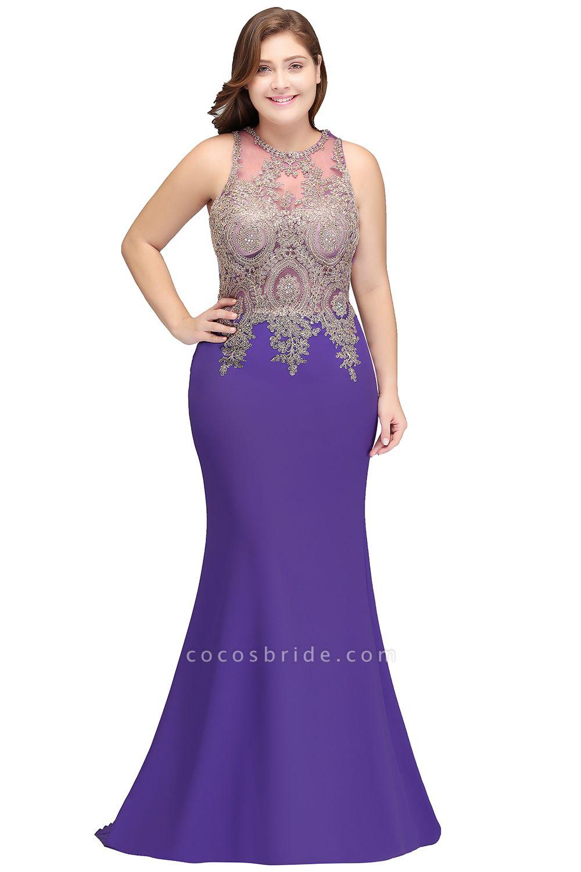 IVORY | Mermaid Crew Floor Length Sleeveless Plus size Evening Dresses with Appliques