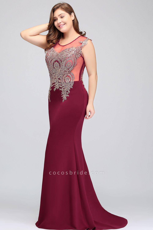 HUNTER   Mermaid Scoop Floor Length Plus size Sleeveless Appliques Burgundy Evening Dresses