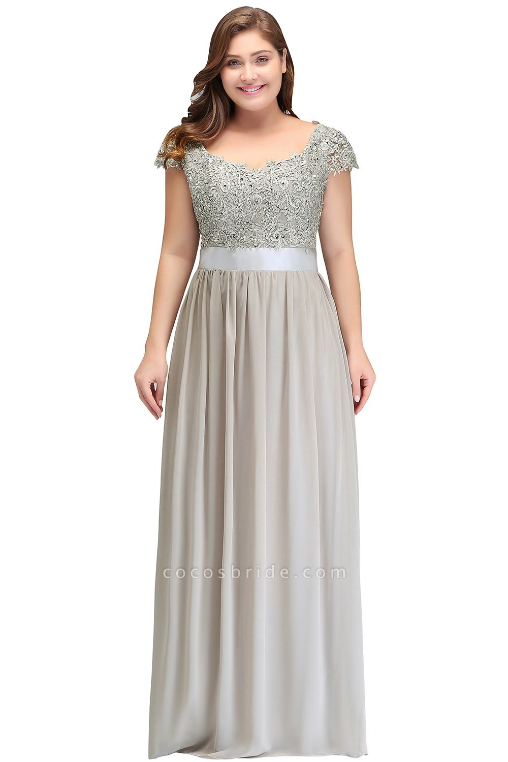 HOLLAND | A-Line Scoop Floor Length Cap Sleeves Appliques Silver Plus Size Evening Dresses with Sash