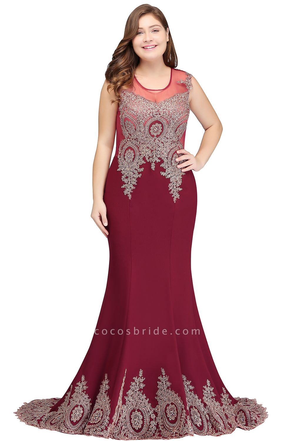 HOPE | Mermaid Appliques Crew Floor Length Sleeveless Burgundy Plus Size Evening Dresses