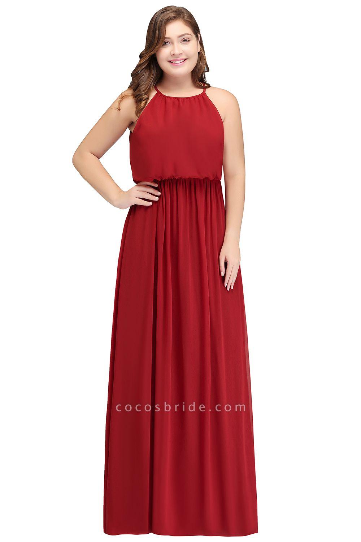 JAIDA   A-Line Straps Floor Length Sleeveless Plus size Evening Dresses with Ruffles