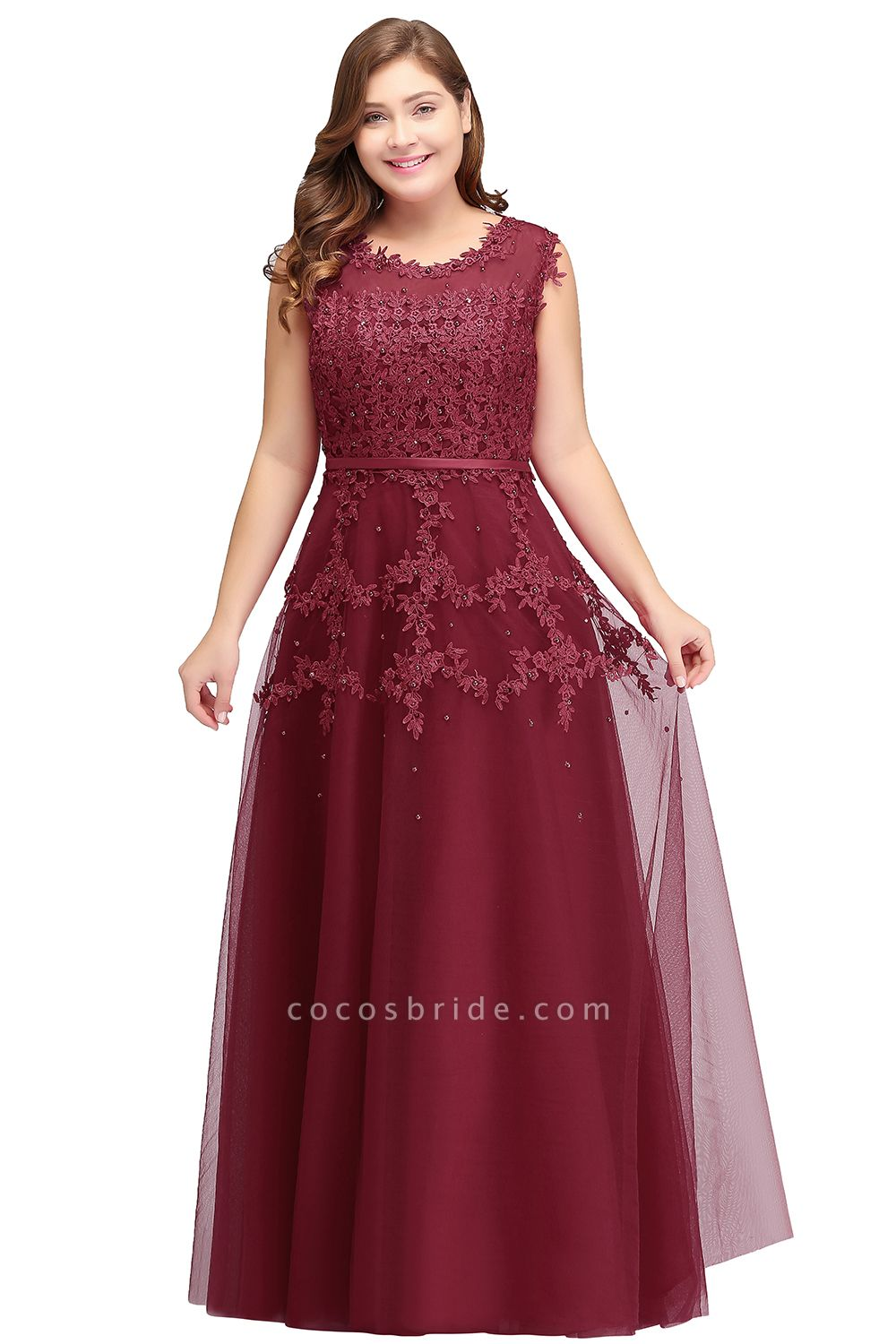 IRENE | A-Line Crew Floor Length Sleeveless Plus size Tulle Appliqued Evening Dresses with Crystals