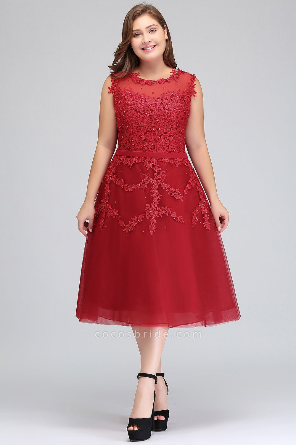 IRELAND   A-Line Crew Tea Length Plus size Sleeveless Tulle Burgundy Cocktail Dresses with Appliques