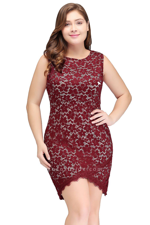 JANIYAH   Mermaid Scoop Short Sleeveless Plus size Lace Cocktail Dresses