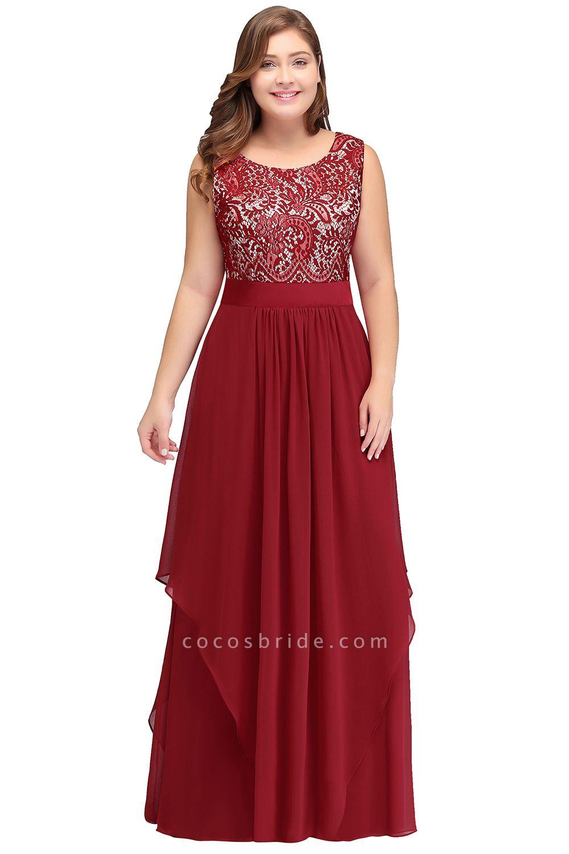 ILIANA | A-Line Scoop Plus size Long Sleeveless Lace Appliques Chiffon Evening Dresses