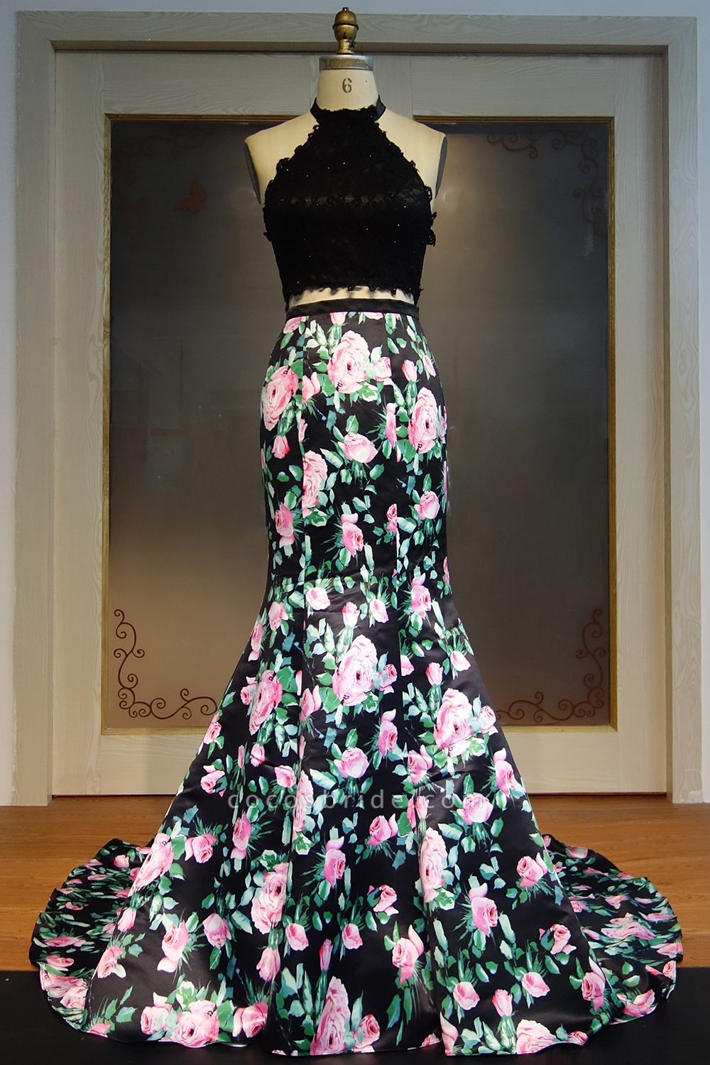 JAYLIN | Mermaid Two-piece Halter Long Lace Top Print Flowers Prom Dresses