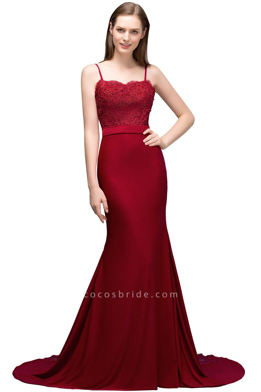 Modest Spaghetti Straps Stretch Satin Mermaid Evening Dress